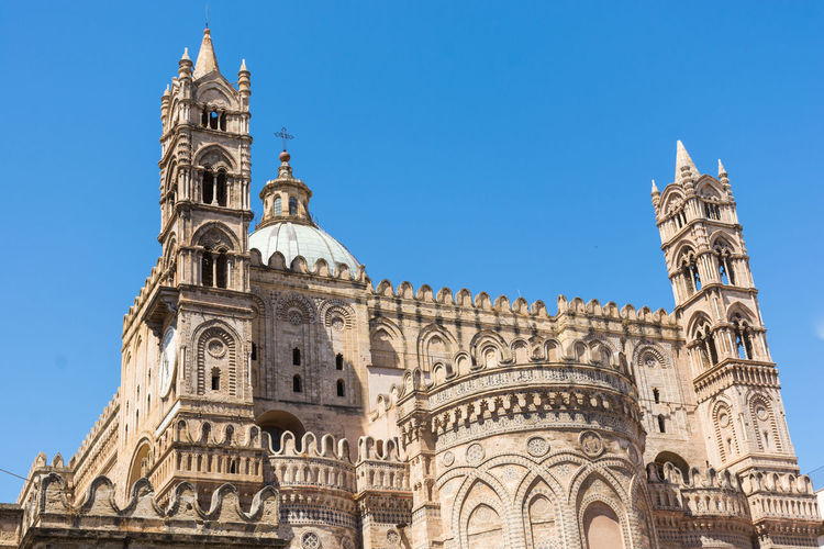 Building Exterior Built Structure Architecture Low Angle View Sky Travel Destinations The Past Clear Sky Building History Place Of Worship Travel Belief Tourism Religion Tower Nature No People Blue Outdoors Gothic Style Palermo Palermo Cathedral Palermo Cathedral Santa Maria Assunta
