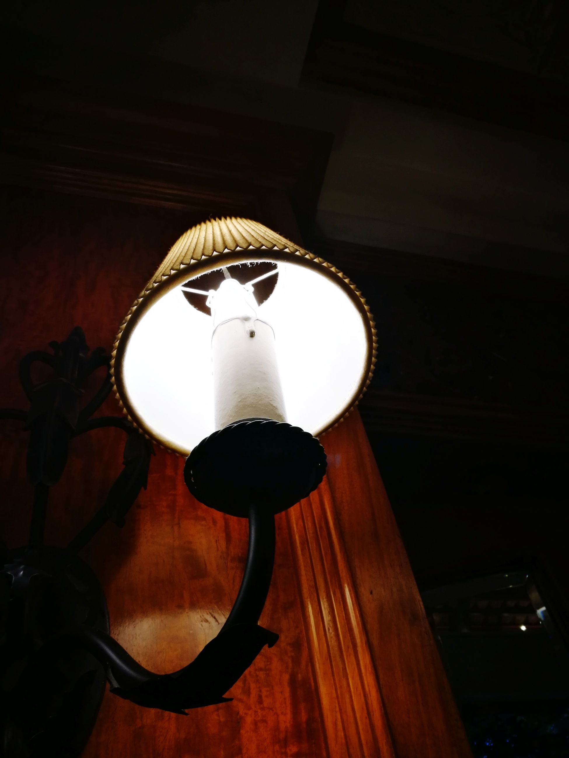 lighting equipment, indoors, hanging, illuminated, no people, low angle view, wood - material, lamp shade, electricity, home interior, close-up, night