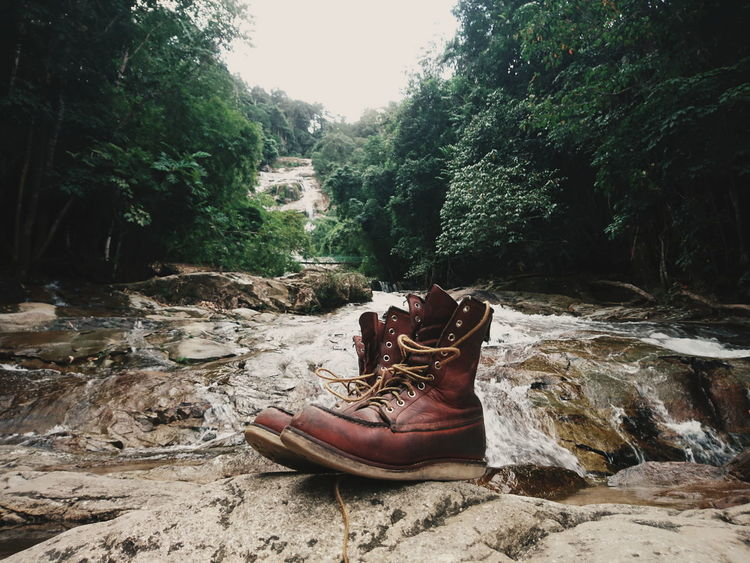 Great boots = Great Adventure Tree Shoe Non Urban Scene Nature Outdoors EyeEmMalaysia Streetphotography Xperiaphotography Sony XPERIA Sony Xperia Photography. Sony Xperia Waterfall Waterfalls REDWINGS Boots Leatherboots Leather Boots