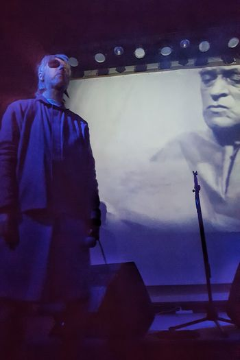 Momus @ Caixa Económica Operária, Lisboa, 2016 Blue Casual Clothing Close-up Dark Illuminated Leisure Activity Lifestyles Live Music Momus Nicholas Currie Vignette