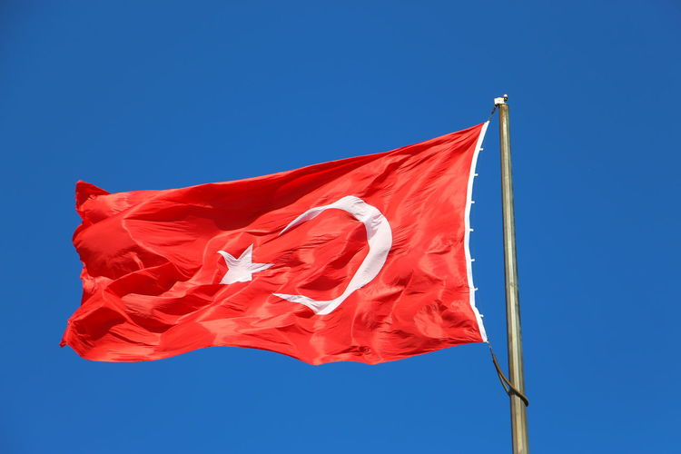Turkey Blue Clear Sky Day Flag No People Outdoors Patriotism Red Sky Turkish Turkish Flag Waving Wind