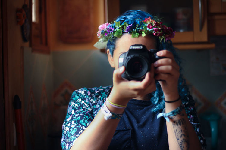 Blue Blue Hair Book Bouquet Casual Clothing Colored Hair Crown DIY Flower Flower Head Flowercrown  Flowerporn Flowers Flowers,Plants & Garden Garden Gardening Lifestyles Plant Portrait Self Portrait Woman