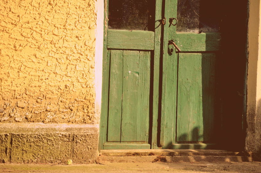 Architecture Brick Wall Countryside Door Green Old Travel Vintage