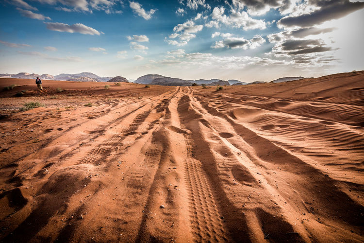 Adventure Arid Climate Beauty Clear Sky Desert Environment Freedom Grazing Hill Horizon Horizon Over Land Jordan Landscape Road Trip Sand Sand Dune Sky Summer Sunlight Sunny Tourism Travel Wadi Rum Weather