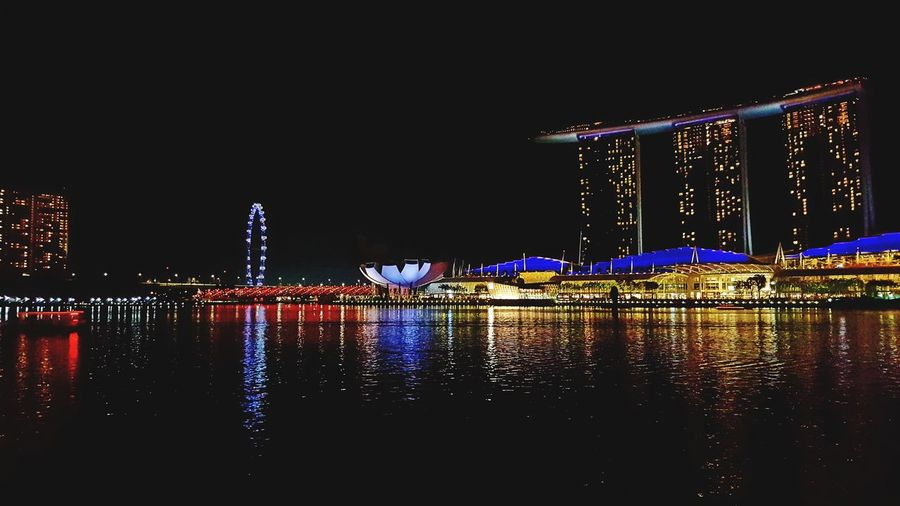 Esplande Waterfront City Cityscape Water Illuminated Multi Colored Arts Culture And Entertainment Reflection Bridge - Man Made Structure Neon Sky Ferris Wheel Christmas Lights Big Wheel