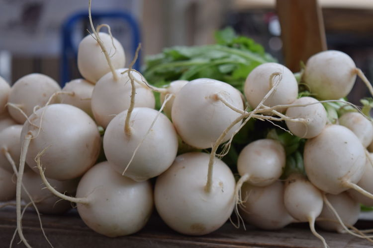 Close-up of radishes for sale at market