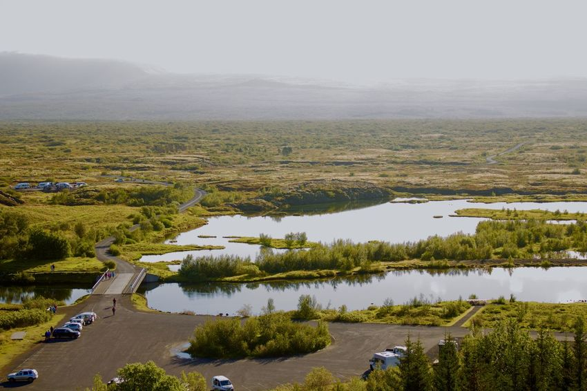 Golden Circle Iceland Beauty In Nature Day Green Color Landscape Nature No People Outdoors Pingvellier National Park Pingvellir Sky Tree Water