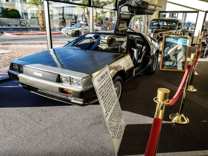 Transportation Day Stationary Delorean Vechicles Cars Casino Hotel USA Nevada Laughlin Nevada Laughlin Classic Car Back To The Future AMC 1981 Old Car Muesum Car Museum Road Road Sign Indoors  Taxi People