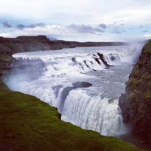 Iceland Travel Waterfall Goldencircle Instamood Vacation Water Clouds Sky Nature Huge Aweinspiring
