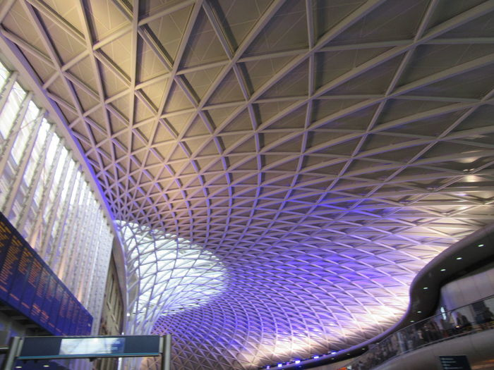 King's Cross Station Architectural Design Architectural Feature Architecture Built Structure Illuminated Indoors  Modern No People Pattern Subway Station Triangles Violet Pattern