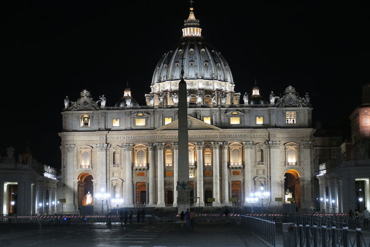 Rome, Vatican – summer 2016. St. Peter's Basilica at night with barriers. The Papal Basilica of St. Peter has installed extra crowd barriers leading to the entrance. Architecture Capital Cities  Cathedral Catholic Catholic Church Catholic Faith Church Dome Famous Place Illuminated International Landmark Italy Italy Holidays Outdoors Papal Basilica Of St. Peter Pope Religion Roma Roman Rome Rome Italy St. Peter's Basilica St. Peter Rome Crowd Barriers Vatican Vaticano