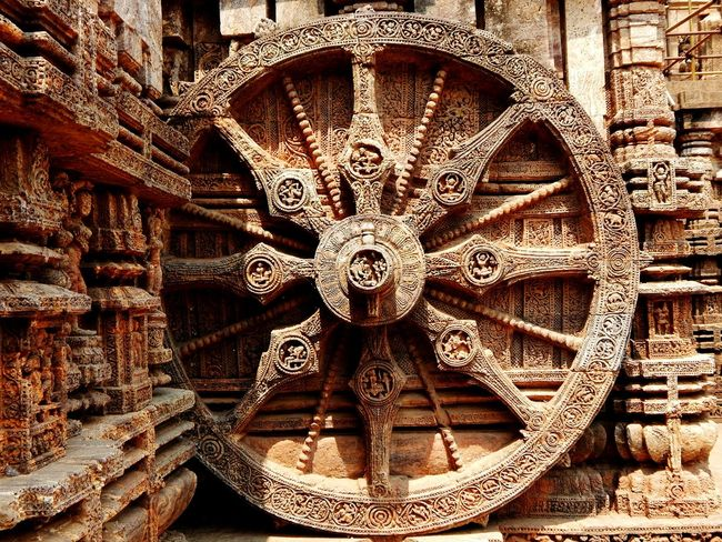 Konark Sun Temple... The sun wheel... Full Frame No People Outdoors Pattern Day Backgrounds Travelphotography Nikon L830 Coolpix Odisha Architecture Temple Stone Carving Old Buildings Culture Konark
