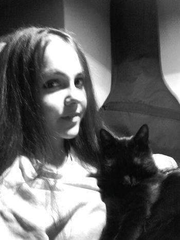 Black Cat Black And White Relaxing Happy Cristmas Feeling Thankful Enjoying Life