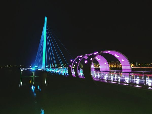 Skywalk City Popular Music Concert Illuminated Cityscape Architecture Built Structure
