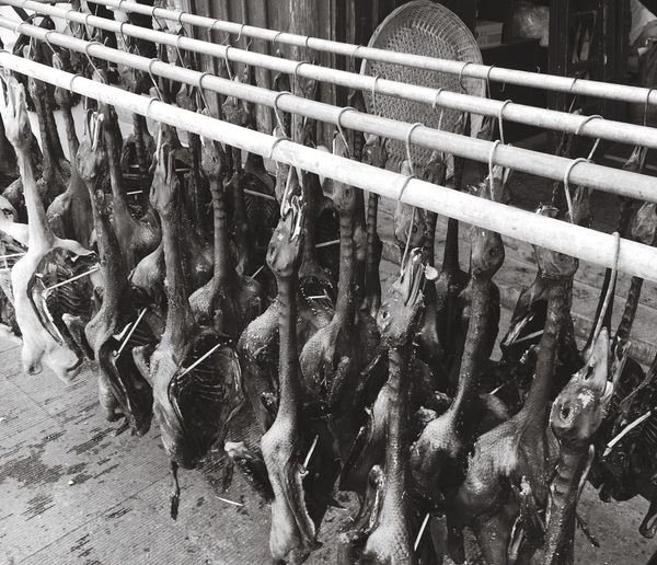 Duck Meat Hanging From Rods For Sale At Shop
