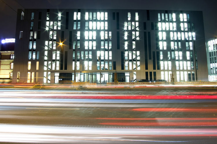 A street scene on a croudy street in Düsseldorf. Architecture Blurred Motion Built Structure City City Life Illuminated Light Trail Long Exposure Motion Night No People Outdoors Speed Transportation Transportation FUJIFILM X-T2 Fujifilm_xseries The Week On Eyem