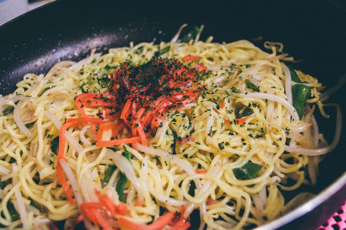 Atmosphere Close-up Colorful Colors Cooking At Home Cross Process Dinner Food Food And Drink Frypan Ginger Green Peppers Indoors  Japanese Culture Kitchen Lifestyles Noodles Pan Selective Focus Skillet Super Retro Table Taste Good Yakisoba Yum