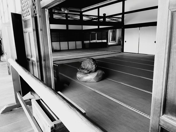 The prayer drum awaits its devout user... Zen Buddhism Temple Japanese  Japan Kyoto Amitabha Domestic Room Home Interior Wood - Material Architecture
