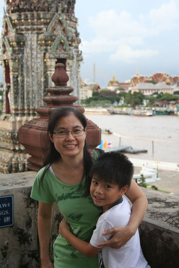 Happiness Mother And Son Son Thai Children Asianboy Asianwoman Adult Mother Females Family With One Child Togetherness Mid Adult Smiling Child Looking At Camera Childhood People Day Outdoors Women Portrait Building Exterior Architecture Standing