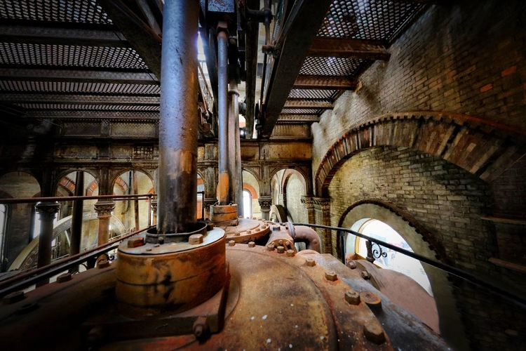 Crossness Pumping Station Architecture Indoors  Built Structure Arch Factory No People Metal