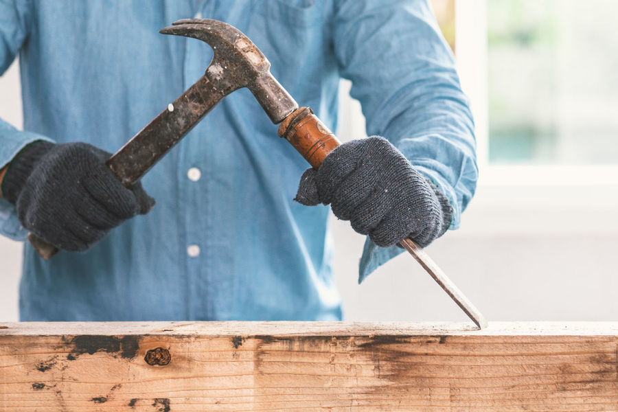 Chisel Craft Nails Carpentry Close-up Day Focus On Foreground Hammer Hand Hand Tool Holding Human Hand Indoors  Making Men Metal Midsection One Person Real People Tool Wood - Material Woodworking Woodworking Tools Work Tool Working