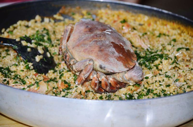 Close-up of fresh crab and rice served in plate