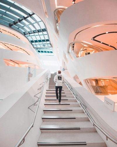 Full Length Real People Steps And Staircases One Person Railing Steps Staircase The Way Forward Indoors  Rear View Architecture Lifestyles Men Standing Built Structure Women Illuminated Day People