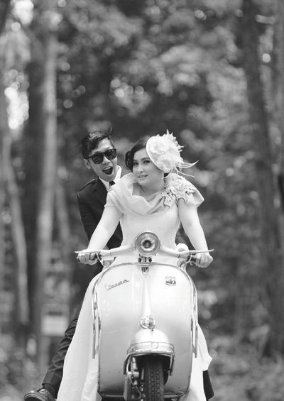 Next Journey Together. Let's ride Eyeem Potrait Eyeemphotography People Bride Bw Blackandwhite Vespa Vespavintage Vintage Piagio INDONESIA