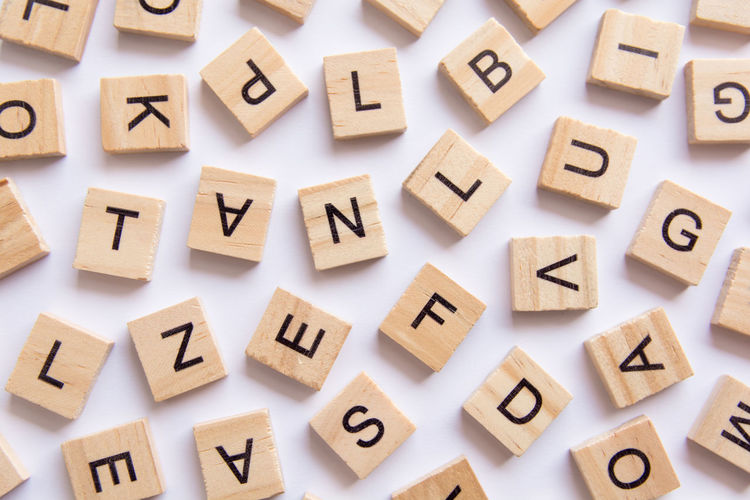 Directly above shot of wooden letters on white background
