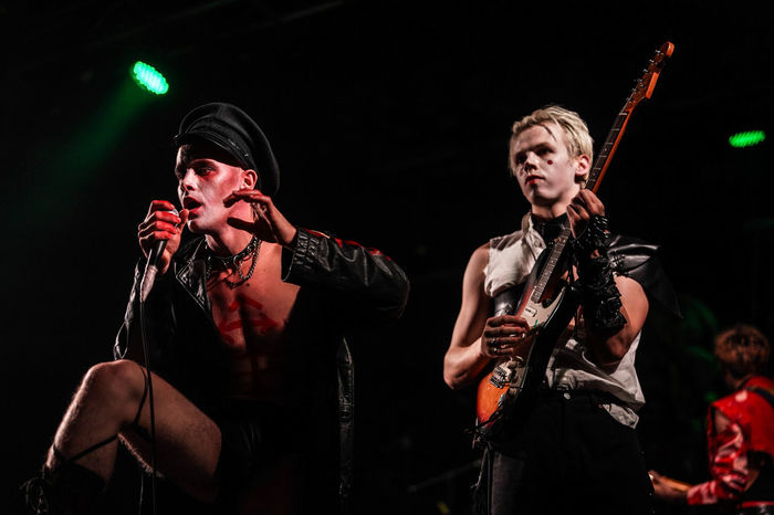 HMLTD performing live on stage at the Electric Ballroom in Camden, London. Live Music Live Music Photography Makeup Punk Rock Rebels Rock N Roll Hmltd Indie Indie Music Punk Rebelious Theatrical