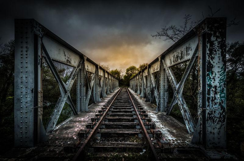 Abandoned Bridge Cloud - Sky Cloudy Dramatic Dramatic Sky HDR Railway Sky Sunset Urban Exploration Urbex Vanishing Point