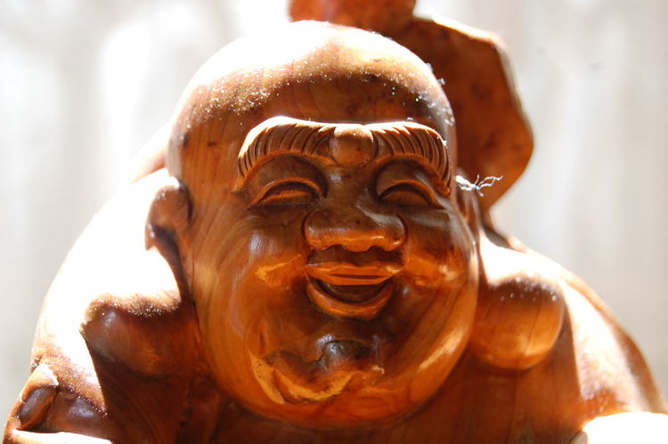 "Budai ""lucky Buddha"" at springtime in Fukushima Prefecture, raw photo Art Budai Buddha Carving - Craft Product Close-up Creativity Day Focus On Foreground FUKUSHIMA Happy Buddha Laughing Buddha Lucky Buddha Raw Photography Sculpture Selective Focus"