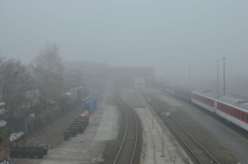 Berlin Cold Temperature Day Fog High Angle View Mode Of Transport Nature No People Outdoors Public Transportation Rail Transportation Railroad Station Platform Railroad Track Railway Track Sky Transportation Tree Warschauer Brücke Weather Winter