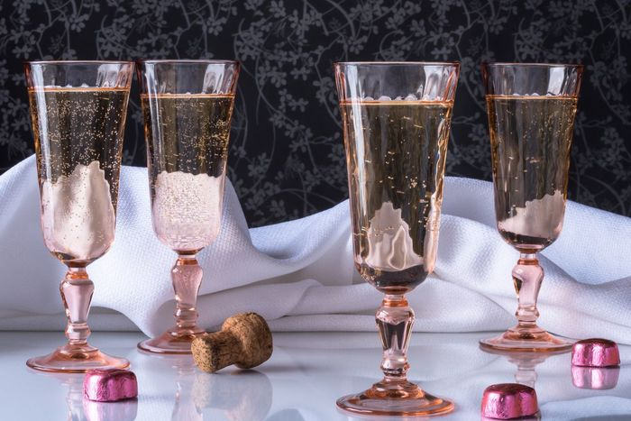 Bubbly Champagne Flute Alcohol Food And Drink Beverages Cheers Pink Valentine Valentine's Day  Bubbly Champagne Flutes Cheers Holiday