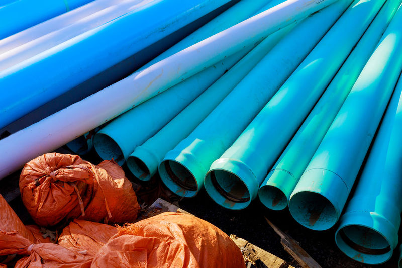 High angle view of metallic pipes