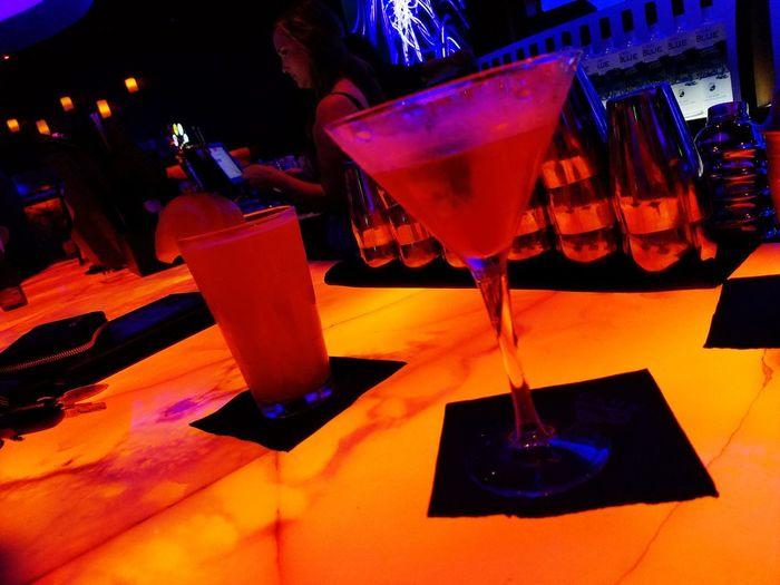 Blue Martini Blue Martini Bar I Drive International Drive Cocktails Martini Martini Glass Cocktail Alcohol Vodka Adult Beverage Orlando Florida Orlando Classic Classy Strawberry Basil Strawberry Basil Beer Draft Draft Beer Blue Moon Orange Slice Draft Not Craft Orange