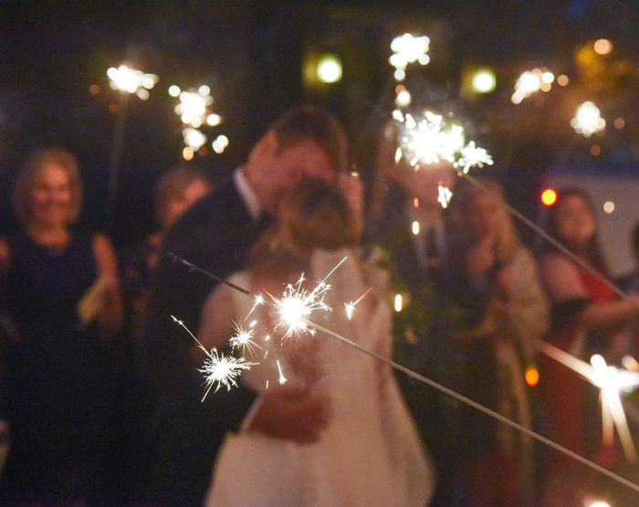 """""""Wedding Sparkles"""" Focus On Foreground Nightphotography Wedding Photography Available Light Photography Christian Church Friends And Family ♥ Generations Sparklers Wedding Day Wedding Dress Firework Sparks"""