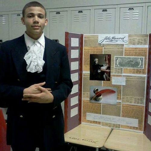 Me presenting my John Hancock project at school Thursday night.