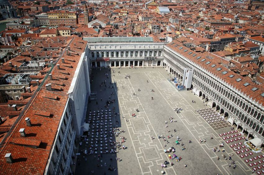 St Mark's Square St Mark's Tower St Mark's Square St Mark's Tower Venice Canals Venice, Italy Aerial View Architecture Building Exterior Built Structure City Cityscape Day High Angle View Large Group Of People Outdoors People Travel Destinations Venice