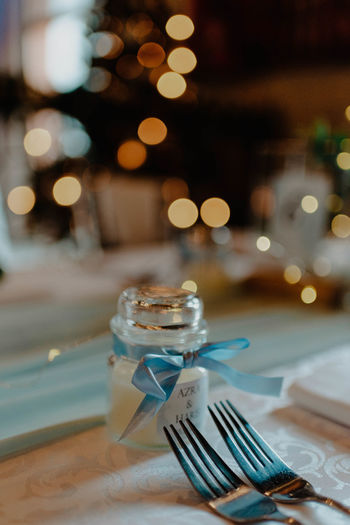 Close-up of christmas lights on table