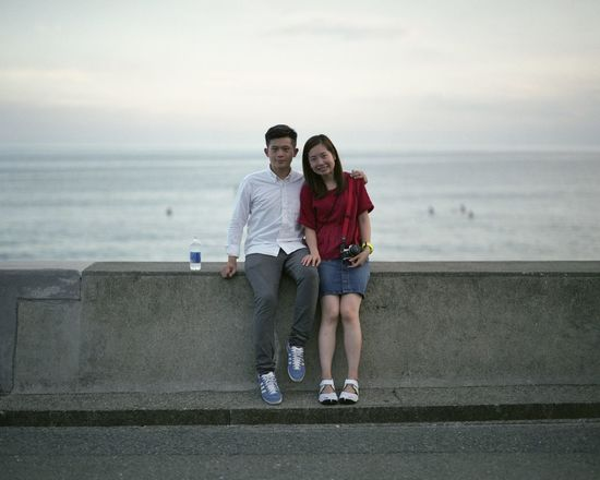 EyeEm EyeEm Best Shots EyeEm Nature Lover EyeEm Gallery EyeEmNewHere Film Japan PENTAX67 Enjoying Life Film Photography Filmisnotdead Front View Fujifilm Horizon Over Water Lifestyles Looking At Camera Outdoors Portrait Sea Togetherness Two People Water Young Adult Young Couple The Week On EyeEm Done That.