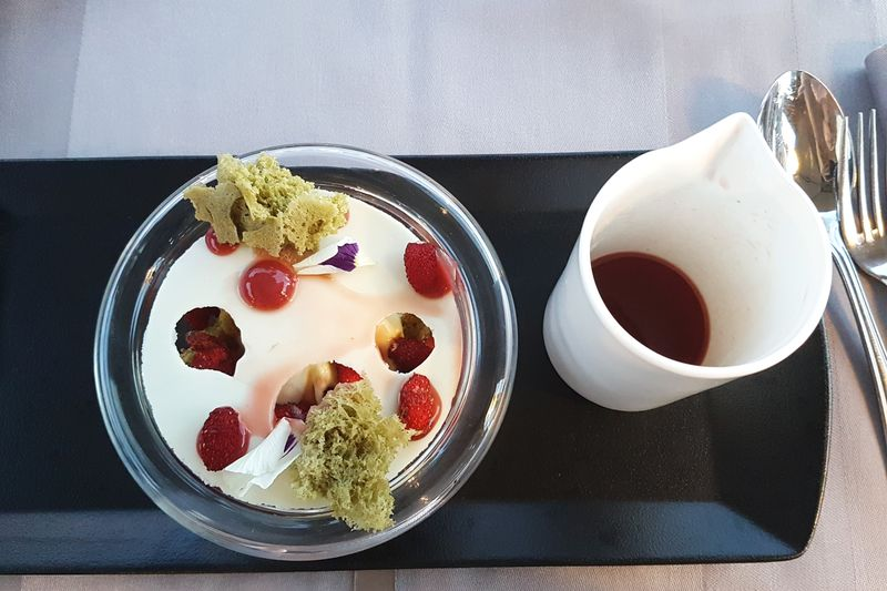 Dessertoftheday Sweet Berries And Cream French Cuisine High Angle View White Chocolate Green Ice Cream Modern Food