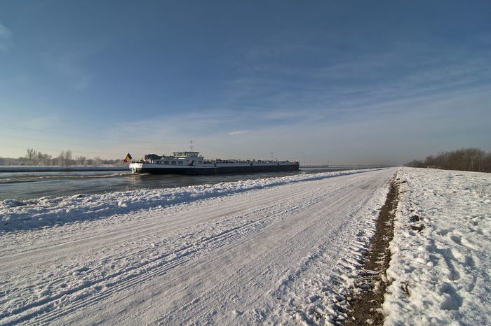 Winter Wonder Land Snow ❄ Beauty In Nature Blue Sky Cold Temperature Day Freight Transportation Frozen Landscape Landscape_photography Mode Of Transport Nature Nautical Vessel No People Outdoors Scenics Sky Snow Transportation Water Weather Winter
