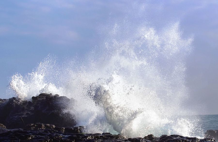 Formidable kinetic energy spent on the coast at Cape Bitou, Taiwan,. The coast here is infamous for 'mad-dog waves' that kill dozens of anglers every year. Cape Bitou Power Taiwan Breaking Crash Force Hitting Kinetic Energy Stopped Mad Dog Wave Motion Nature Outdoors Power In Nature RISK Rough Sea Splashing Water Wave