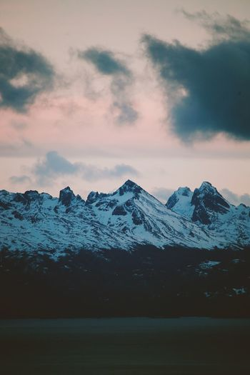 Beauty In Nature Cloud - Sky Cold Temperature Day Landscape Mountain Mountain Range Nature No People Outdoors Peak Range Scenics Sky Snow Snowcapped Mountain Sunset Tranquil Scene Tranquility Travel Destinations Weather Winter