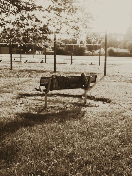Daybreak Dawn Playground Bench Sleeping Nap Man Person Bum Bummin