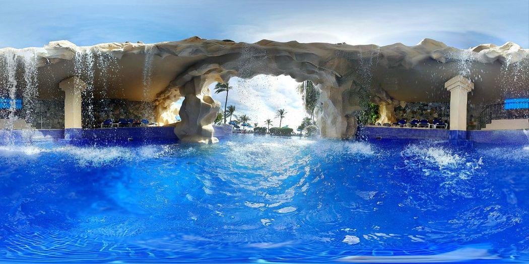 Water fountain in swimming pool