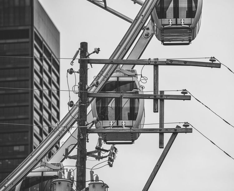 SkyViewAtlanta No People Monochrome Blackandwhite Tourist Attraction  Photographyisthemuse Streetphotography Conquer_atl Explore Atlanta Nikond750 Tamron 70-200mm F/2.8 EyeEm Best Shots - Black + White Ferris Wheel Still Life Urban Landscape Amusement Ride Cityscape