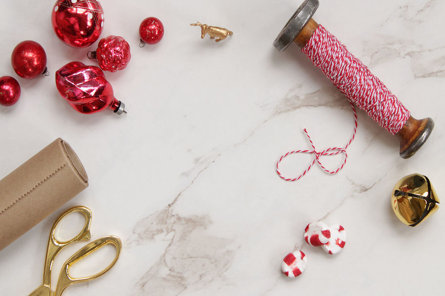 Christmas Christmas Copy Space Desk Gold Holidays Kraft Paper Red Reindeer Scissors Stripes Twine Backgrounds Candy Decorations Desk From Above Directly Above Jingle Bells Marble Ornaments Peppermint Season  Vintage White Wrapping Gifts Wrapping Paper