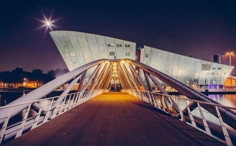 NEMO Science Museum at Night with the moon at the tip Amsterdam Architecture Beautiful City Holland Long Exposure Moon Moonlit Museum Nemo Netherlands Night Night Photography Parallel Lines Science Vanishing Point The Architect - 2016 EyeEm Awards
